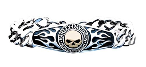 Harley-Davidson Men's ID Bracelet, Flames Willie G Skull 14kt Gold Inlay HMB0012
