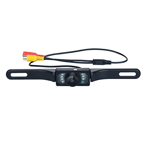 GerTong Waterproof HD Color Wide Angle Viewing License Plate Car Rear View Backup Camera with 7 Infrared Night Vision LED Lights (Camera Car Reverse Hd compare prices)