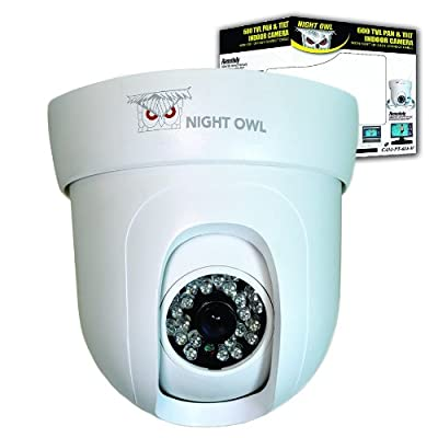 Night Owl Security CAM-PT624-W Indoor Pan/Tilt 600 TVL Camera with 100-Feet Easy Connect Cable for Night Owl DVR (White)