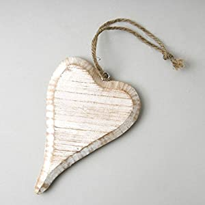 15cm Whitewashed Rustic Hanging Heart