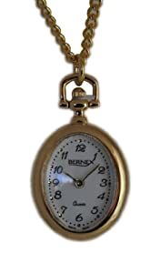Bernex Oval Pendant Roman Dial with Black Enamel and Gold Flowers in Gold Plated Chain GB31013