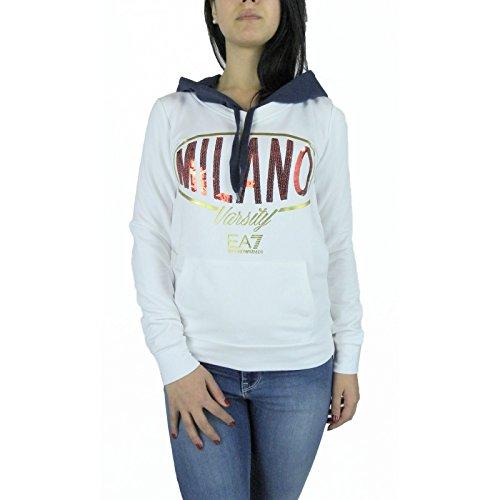 Felpa donna EA7 EMPORIO ARMANI, con cappuccio, bianca, art. 284591 6P607 (S)