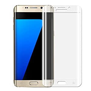ALCLAP S7 Edge Screen Protector Premium Tempered Glass Full Coverage Protection High Definition(HD) 3D Curved Film Ultra Clear for Samsung Galaxy S7 Edge (Silver,NOT FOR S7) by ALCLAP