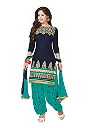 PShopee Navy Blue & Green Cotton Embroidery Unstitched Patiyala Dress Material
