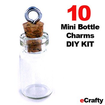 eCrafty EC-4972 25mm Mini Glass Bottles Message Charm Kit, 1-Inch
