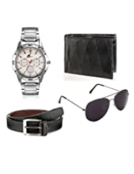 Arum Combo Of Stylish Silver Watch,Wallet &Sunglass With Belt Combo AWWSGB-003