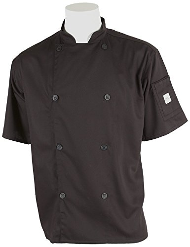 Mercer Culinary M61012BKL Genesis Unisex Short Sleeve Chef Jacket with Traditional Buttons, Large, Black (Happy Chef Cap compare prices)
