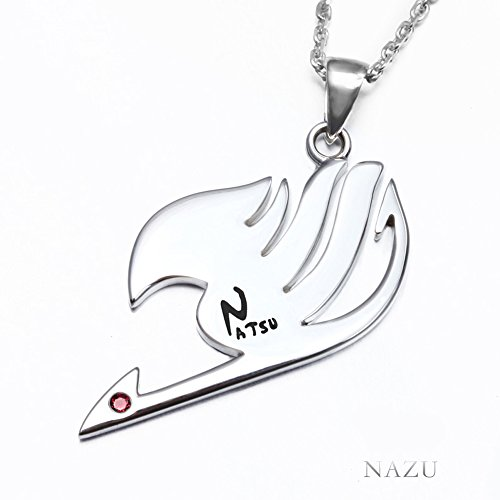 Onecos Fairy Tail Guild Logo Necklace with Lettering 925 Sterling Silver(Natsu)