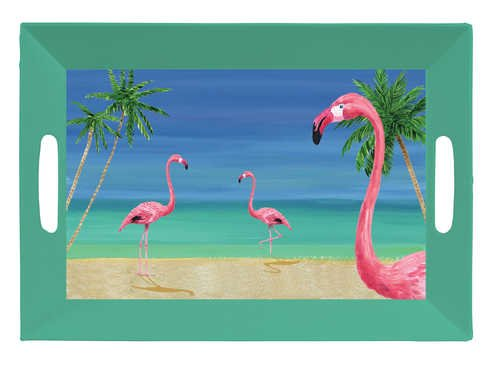 Tropical Vacation Plastic Tray W/Handles (12pks Case)