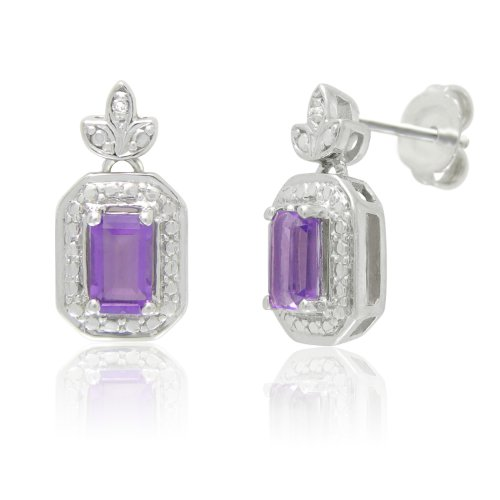 Sterling Silver Amethyst and White Diamond Stud Earrings