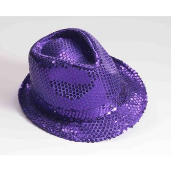 Purple Sequin Light Up Led Fedora Party Hat