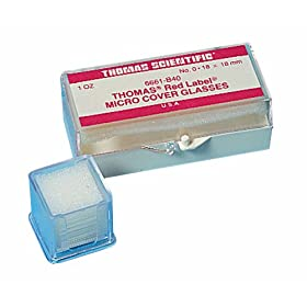 Thomas 25X25-1-602757 Glass Square Cover, 25mm Length, 25mm Width, 1mm Thick, 1oz Box (Case of 10)