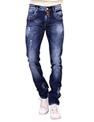 Kavis Mid Waist Dark Blue Colored Slim Fit Men's Jeans - B016WG26YI