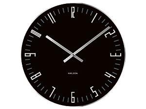 Karlsson Wall Clock Slim Index Black Glass with Mirror Edge
