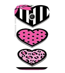 PrintVisa Cute Hearts Art 3D Hard Polycarbonate Designer Back Case Cover for Motorola Moto E