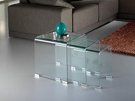 Schuller 552283 Gigogne-Tavolo per sala da pranzo, vetro trasparente, dimensioni 42 x 42 x 42 cm