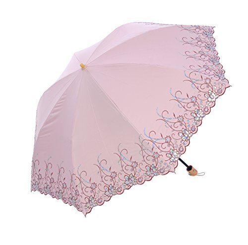 Honeystore-Regenschirm-Taschenschirm-Blumen-Sonnnenschirm-mit-85-cm-Durchmesser-Rosa