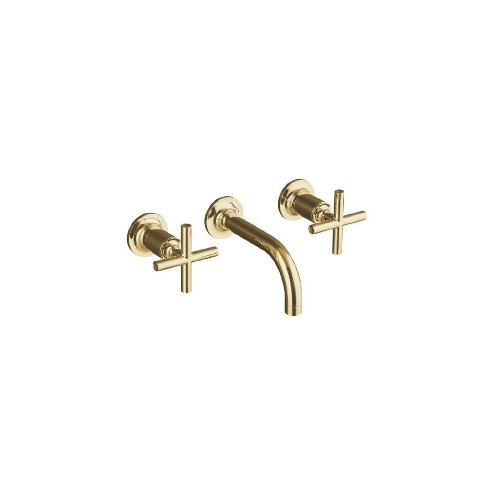 Kohler Purist Polished Gold Wall Mount Bathroom Sink Faucet w/ 6 Spout + Cylinder Cross Handles