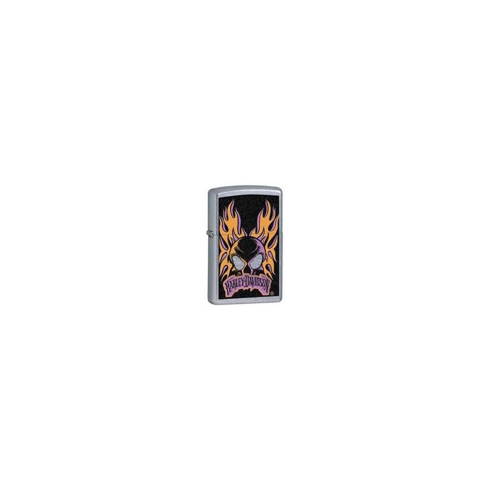 Zippo Harley Davidson Orange/Purple Skull & FlamesLighter (Silver, 5 1/2 x 3 1/2 cm)