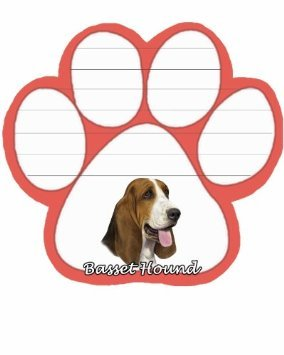 Basset Hound Notepad With Unique Die Cut Paw Shaped Sticky Notes 50 Sheets Measuring 5 by 4.7 Inches Convenient Functional Everyday Item Great Gift For Basset Hound Lovers and Owners
