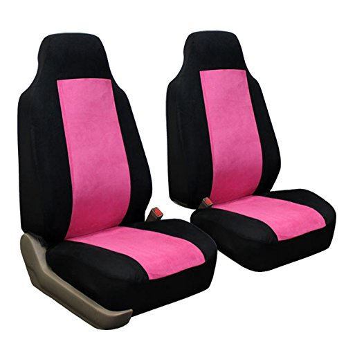 fh fb105114 classic suede car seat covers pink black color airbag compatible and rear split. Black Bedroom Furniture Sets. Home Design Ideas