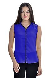 Femninora Blue Color Casual Collar Top