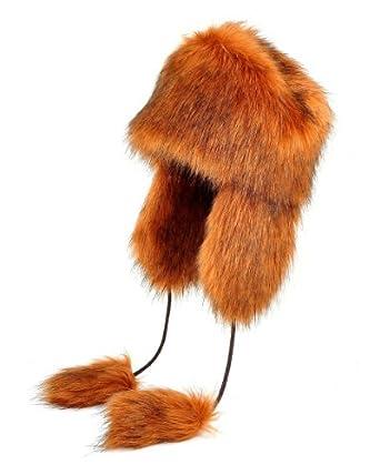 Aviator Faux Fur Hat Cossack Russian Style Trapper Winter Women Hat Ushanka (S, Rusty)