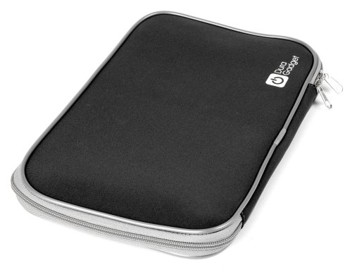 """Duragadget Black """"Travel"""" Water Resistant Cushioned Neoprene Cover With Twin Zip For Sony Dvpfx980 9-Inch Screen Dvd Portable & Orei Dvd-P901 9-Inch Swivel Screen Multi Region Free Portable Dvd Player - 4.5 Hour Long Battery Life - Usb/Sd Card Input"""