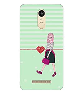 PrintDhaba Walking Girl D-2225 Back Case Cover for XIAOMI REDMI NOTE 3 PRO (Multi-Coloured)
