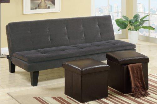 Adjustable Sofa w/Espresso Ottoman (Set of 2) in Onyx Grey Microfiber by Poundex