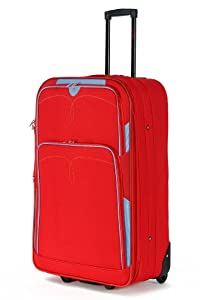 "5 Cities Large 26"" Inch Lightweight Expandable Suitcase, Check-in Luggage Wheeled Rolling Bag with 3 Years Warranty! (Red 635)"