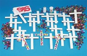 Buy Sticky Back Chipboard Crosses (Pk/24)