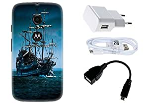 Spygen Motorola Moto E2 (2nd Gen) Case Combo of Premium Quality Designer Printed 3D Lightweight Slim Matte Finish Hard Case Back Cover + Charger Adapter + High Speed Data Cable + Premium Quality OTG