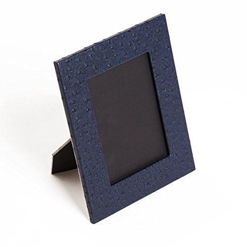 SMB Group Blue Ostrich Style Leather Picture Frame, 5