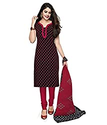 Janasya Women's Red Polyester Printed Unstiched Dress Material (DR-019-Printed.A)