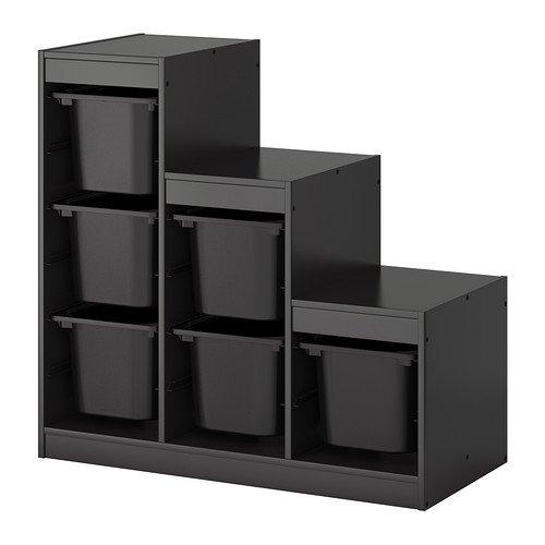 IKEA TROFAST-avec boîte de rangement Noir, Bois dense, noir, 1 - Pack