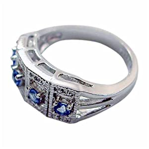 Sterling Silver Blue CZ Vintage Style Ring