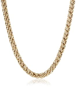 """Bonded Sterling Silver and 14k Two-Tone Spiga Chain Necklace, 17"""""""
