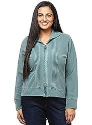 GRAIN Teal Blue Regular fit Cotton Full Sleeve Jackets for Women