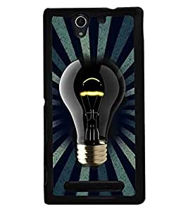 Fuson Premium Luminiscent Bulb Metal Printed with Hard Plastic Back Case Cover for Sony Xperia C3 Dual