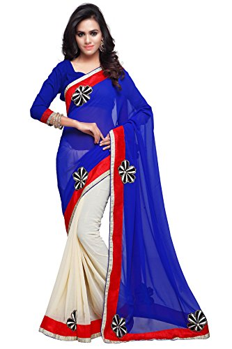 Sourbh Sarees Women's Blue and Cream Faux Georgette and Chiffon Saree with Unstitched Blouse Piece