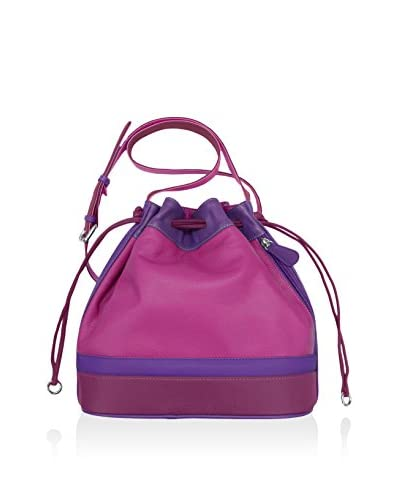 ILI Women's Leather Drawstring Bag, Very Berry