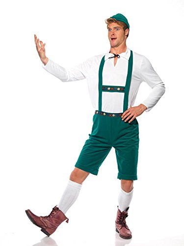 Smiffy's Men's Oktoberfest Costume Lederhosen Shorts with Braces Top and Hat