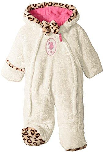 Us polo association baby-girls faux fur coral fleece pram with leopard print trim, winter white, 6-9 months