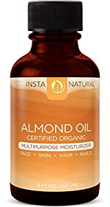 InstaNatural Almond Oil - 100% Pure & Certified Organic Almond Oil - Best Multipurpose Moisturizer for Face, Body & Nails - Cold Pressed, Unrefined & Natural Conditioner for Dry & Damaged Hair - 4 OZ