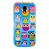 Blue Backgroud Colorful Owls Pattern Hard Back Cover Case for Samsung Galaxy S4 Mini I9190 in Multi-color