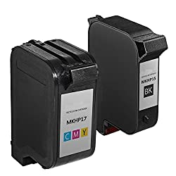AOODOO Remanufactured HP 15 23 Ink Cartridge ( 1 Black 1 Tri-Color ) Used in HP Color Copier 140 115 Deskjet 710 720 722 782 815 OfficeJet Pro 1170 1175 Printer