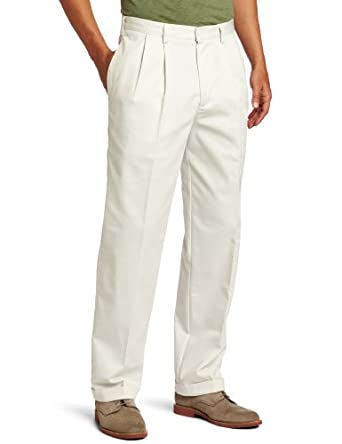 IZOD Men's American Chino Pleated Pant, Pumice, 32x32