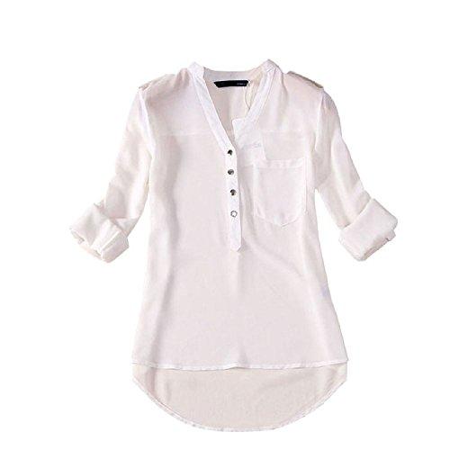 Minetom Donna Lunga Camicetta Tunique V-Collo Chiffon T-Shirt Top Ol Shirt ( Bianco EU M )