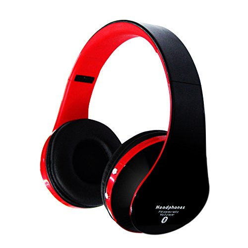 Jiafeng® Eb203 Bluetooth Wireless Headphone Bluetooth3.0 + Edr Tracks Headset Support Line-In Mode Multi-Media Playing Micro-Sd Card (16Gb) Music Playing For Iphone 5S Samsung Galaxy S5 Htc One Sony Xperia (Not Include Micro-Sd Card) (Black-Red)